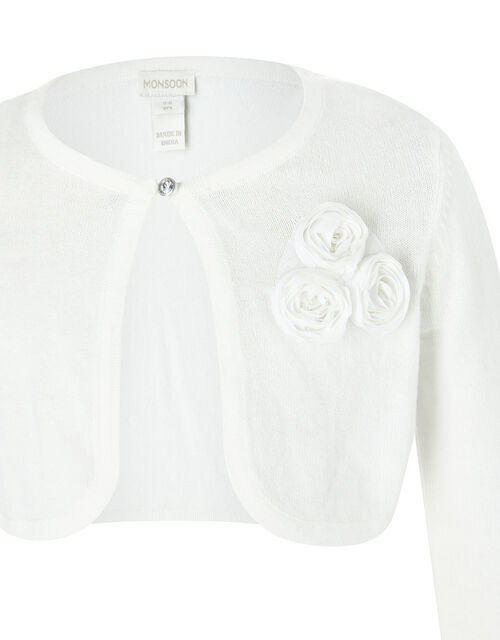Colette 3D Flower Cardigan in Organic Cotton, Ivory (IVORY), large