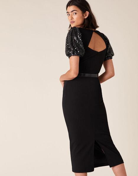 Brianna Sequin Sleeve Jersey Midi Dress Black, Black (BLACK), large