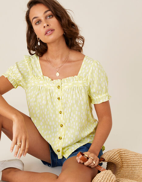 Printed Puff Sleeve Top in LENZING™ ECOVERO™ Yellow, Yellow (YELLOW), large