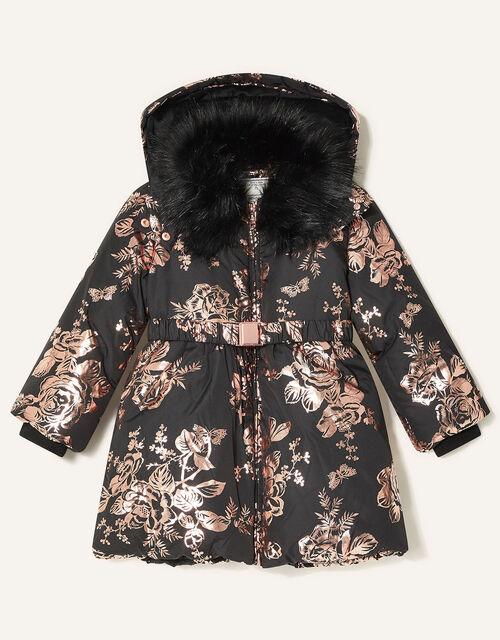 Foil Floral Padded Coat, Black (BLACK), large