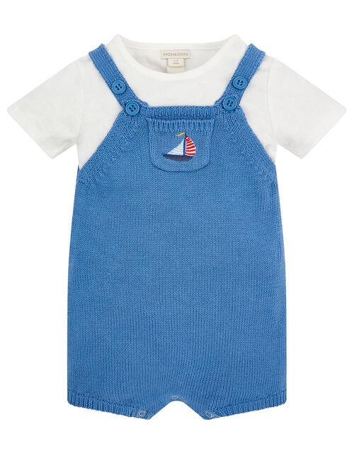 Newborn Baby Boat Dungarees Set, Blue (BLUE), large