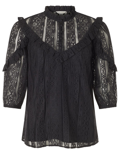 Lace Ruffle Trim Top, Black (BLACK), large