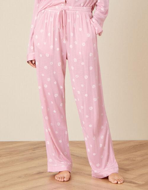 Spot Print Pyjama Trousers, Pink (PINK), large
