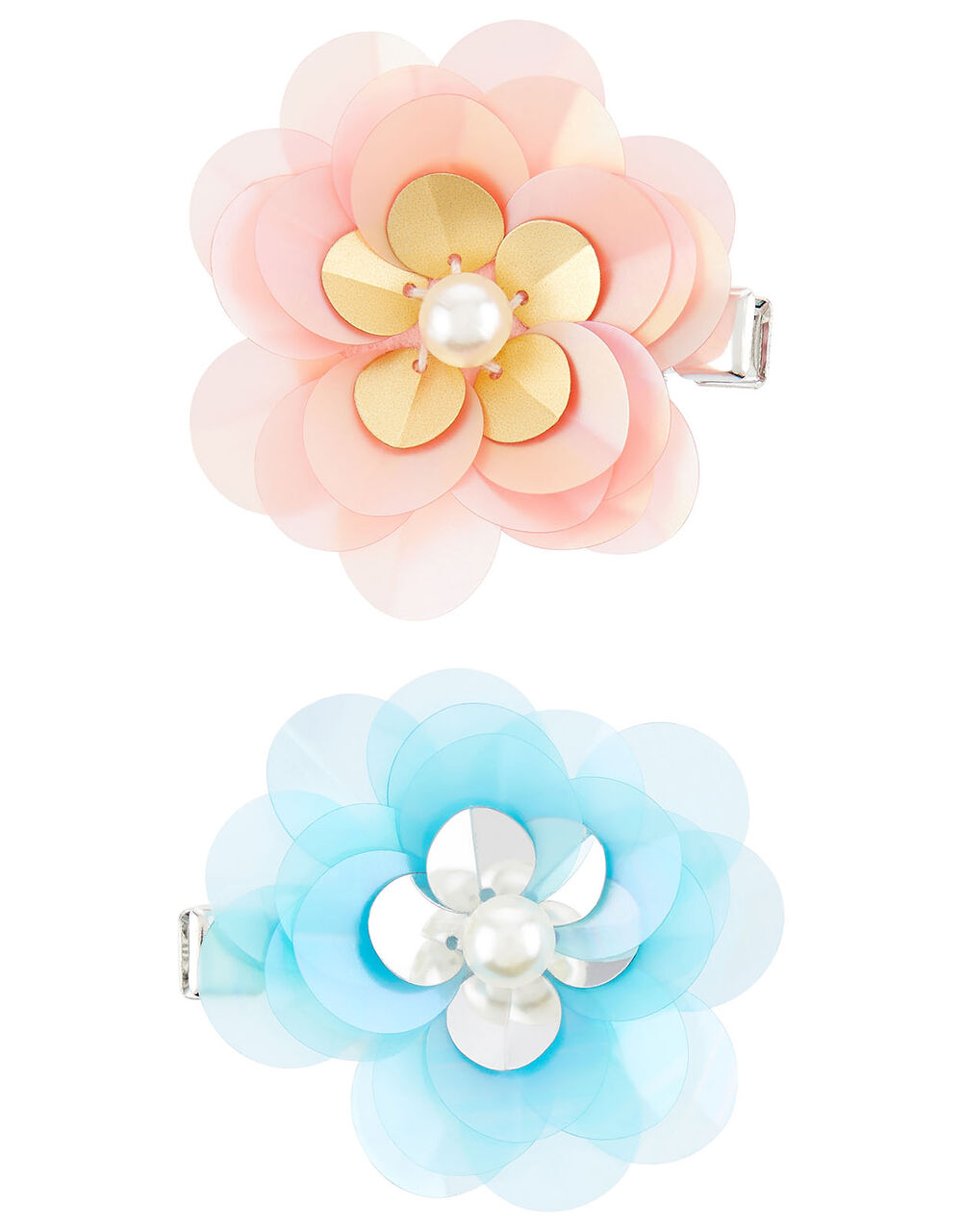 Frosted Sequin Flower Hair Clips, , large