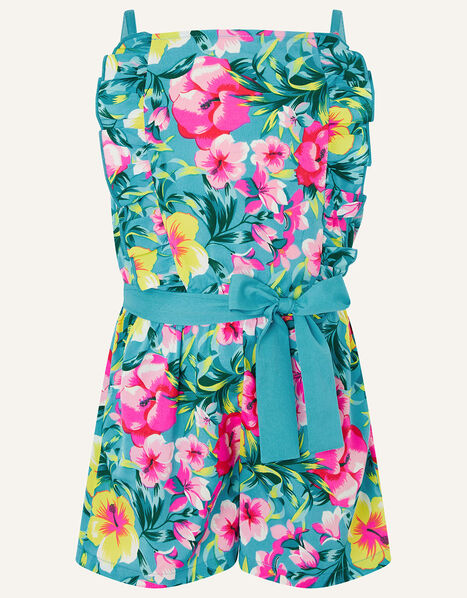 Samia Floral Frill Playsuit Green, Green (GREEN), large