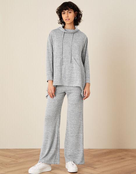 LOUNGE Marl Jersey Wide-Leg Joggers Grey, Grey (GREY), large