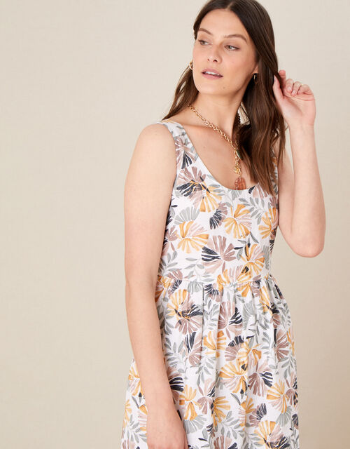Palm Print Sundress in Linen Blend, Natural (STONE), large