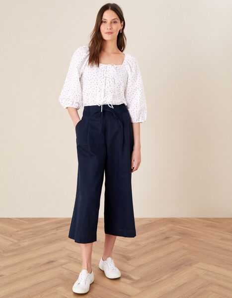 Drawstring Culottes in Linen Blend Blue, Blue (NAVY), large