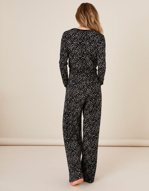 LOUNGE Carter Printed Jersey Jumpsuit, Black (BLACK), large