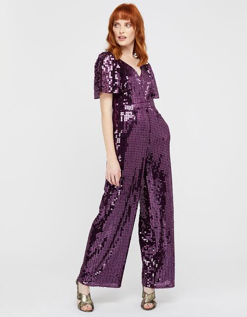 Harriette Heart Sequin Jumpsuit, Purple, large