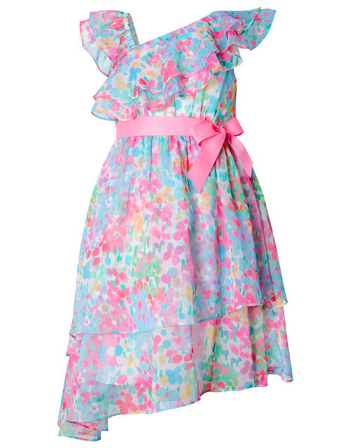 Nancy Floral Asymmetric Frill Dress, Multi (MULTI), large