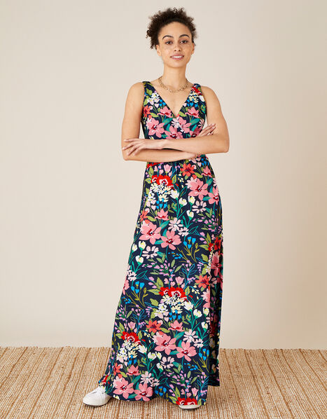 Nicole Floral Slinky Jersey Maxi Dress Blue, Blue (NAVY), large