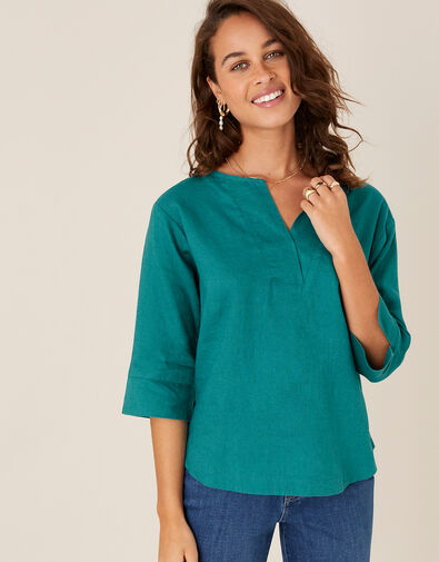 Daisy Plain T-Shirt in Pure Linen Teal, Teal (TEAL), large