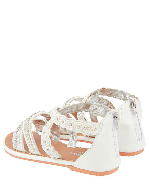 Sicily Pearl Bead Sandals, White (WHITE), large