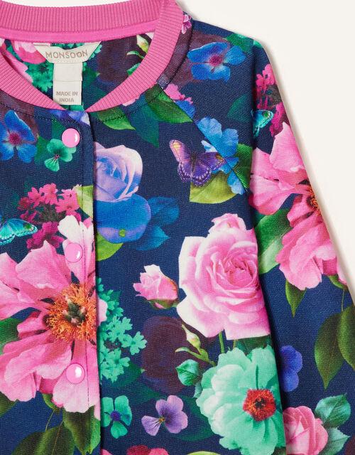 Rose Print Bomber Jacket, Blue (NAVY), large