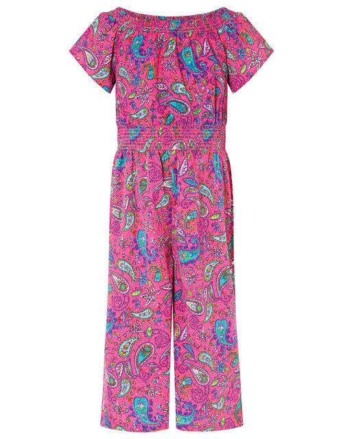 Paisley Shirred Jumpsuit, , large