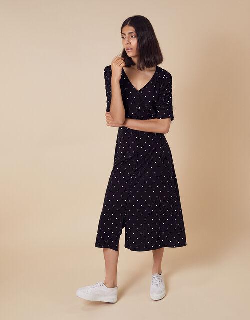 Spot Jersey Midi Dress with Organic Cotton, Black (BLACK), large