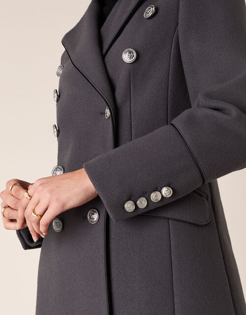 Marie Military Coat, Grey (CHARCOAL), large