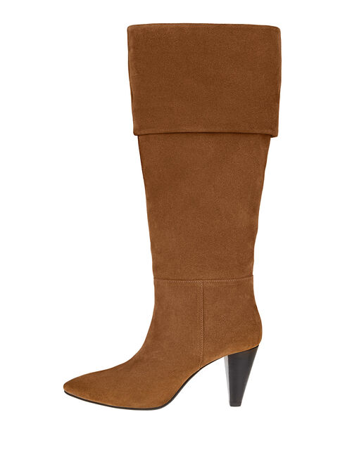 Slouch Suede Thigh Boots, Tan (TAN), large