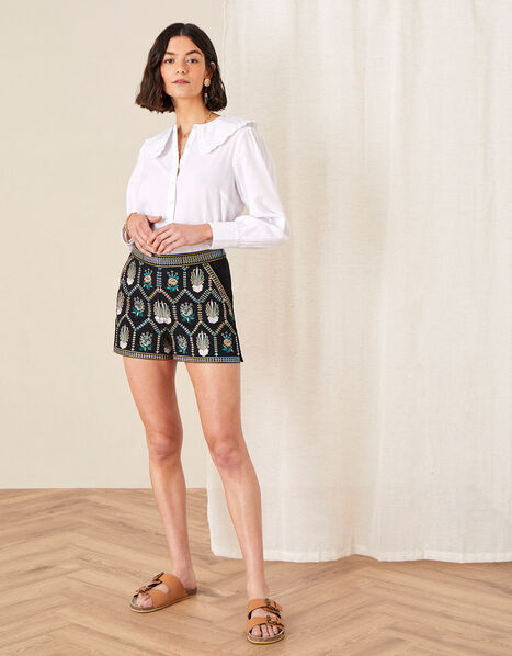 Embroidered Shorts in Pure Cotton Black, Black (BLACK), large