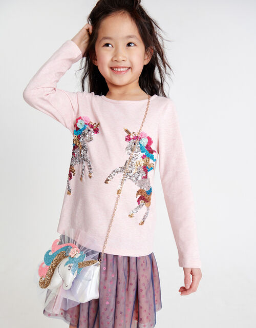 Sequin Unicorn Top in Organic Cotton , Pink (PINK), large