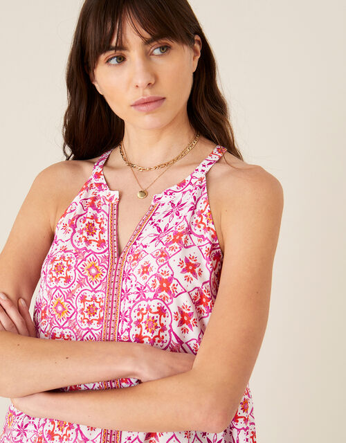 Beaded Floral Print Cami, Red (RED), large