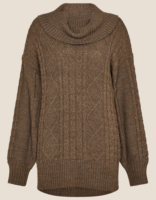 Ida Cable Cowl Neck Jumper, Brown (CHOCOLATE), large