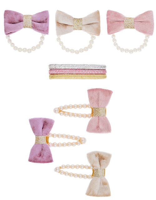 Velvet Bow and Pearls Hair Accessory Set, , large