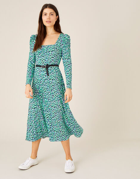 Printed Square Neck Jersey Midi Dress Green, Green (GREEN), large