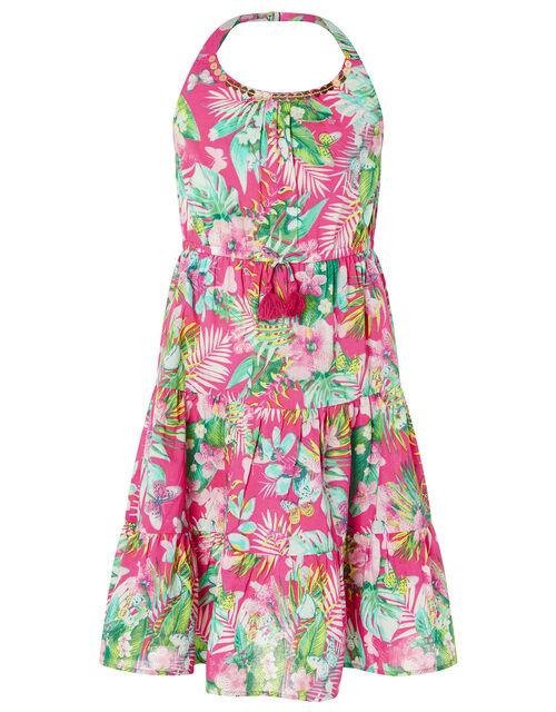Palm Print Halter Midi Dress in Organic Cotton, Pink (PINK), large