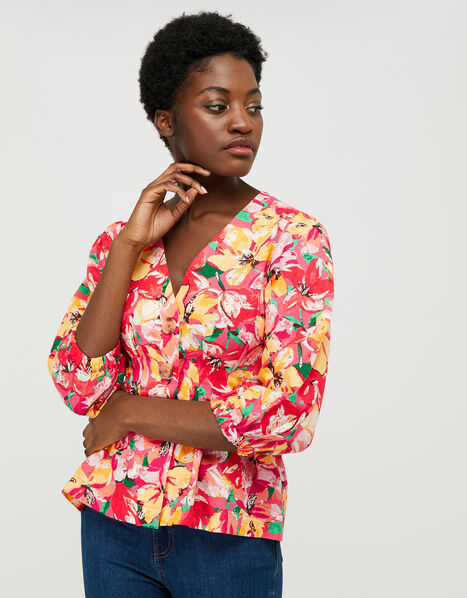 Verna Floral Blouse in Linen and Organic Cotton Red, Red (RED), large
