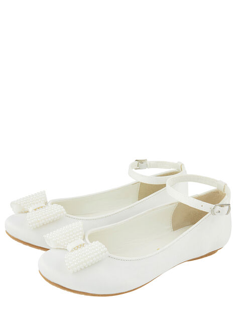 Genevieve Satin Ballet Flats with Pearl Bow, White (WHITE), large