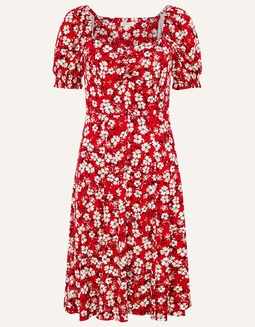Everly Floral Print Jersey Dress , Red (RED), large