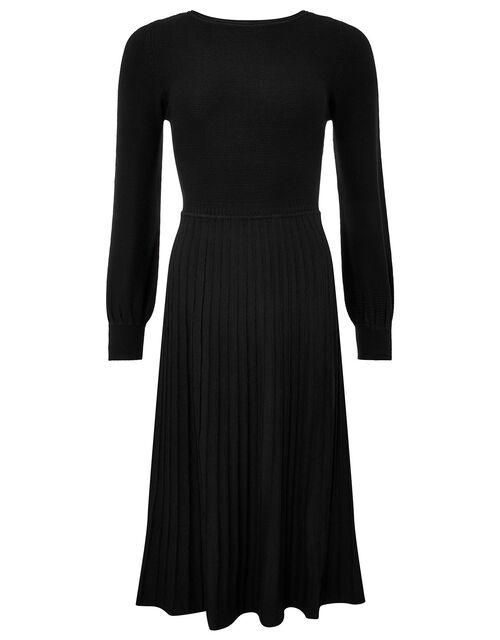 Pleated Skirt Knit Dress with LENZING™ ECOVERO™, Black (BLACK), large