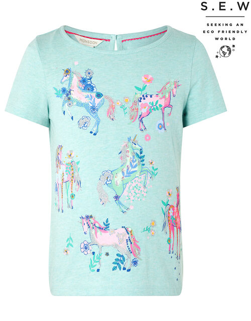 Adele Sparkle Unicorn T-Shirt in Organic Cotton, Blue (AQUA), large