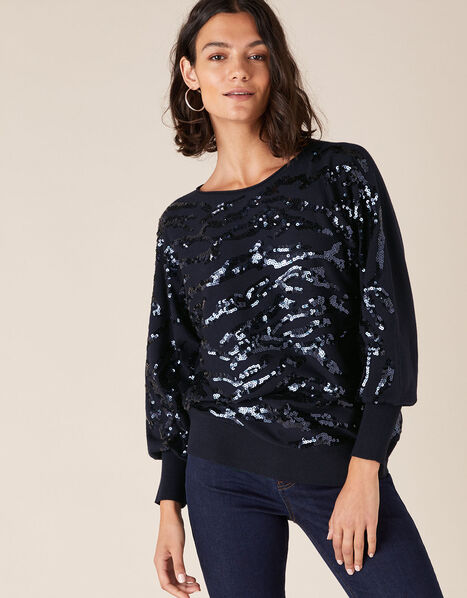 Sequin Animal Knit Jumper with LENZING™ ECOVERO™ Blue, Blue (NAVY), large