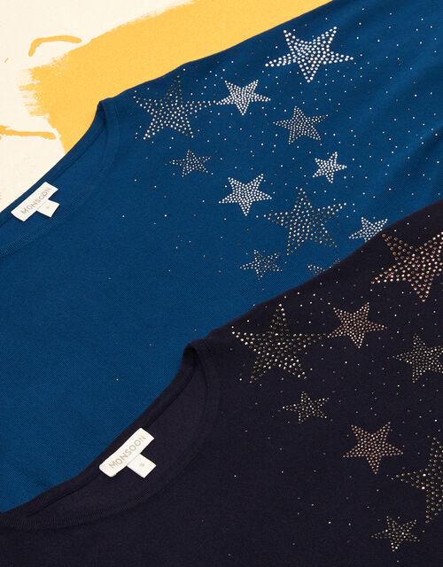 Hotfix Gem Star Jumper with LENZING™ ECOVERO™, Blue (NAVY), large