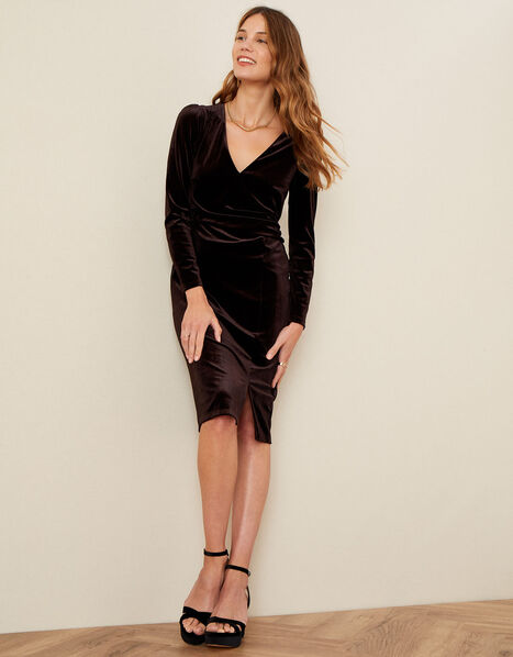 Shelly Plain Velvet Dress Brown, Brown (CHOCOLATE), large