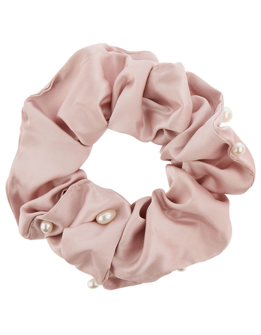 Oversized Pearly Satin Hair Scrunchie, , large