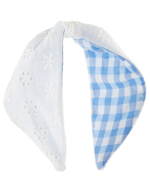 Reversible Broderie Gingham Knot Headband, , large