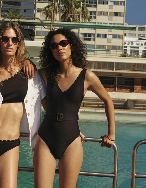 Karina Belted Swimsuit with Recycled Polyester, Black (BLACK), large