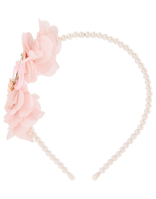 Valentina Ballerina Ruffle Bow Pearly Headband, , large