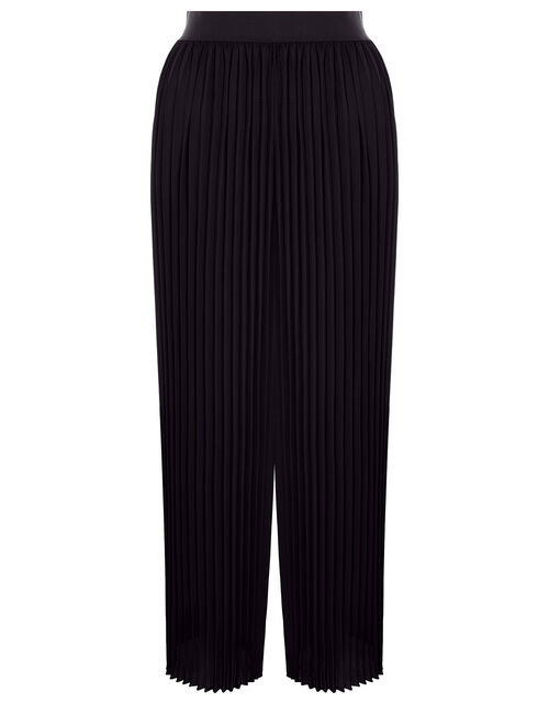 Pleated Culotte Trousers, Black (BLACK), large