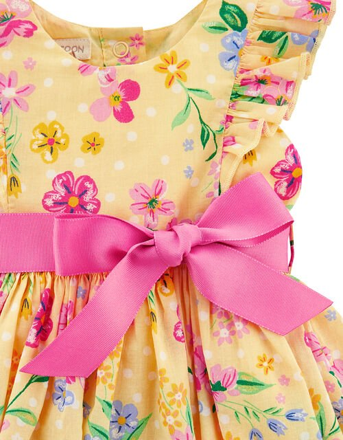 Newborn Baby Florence Floral Dress and Briefs, Yellow (YELLOW), large