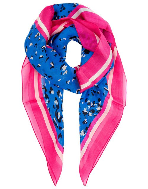 Animal Print Square Scarf in Pure Silk, , large