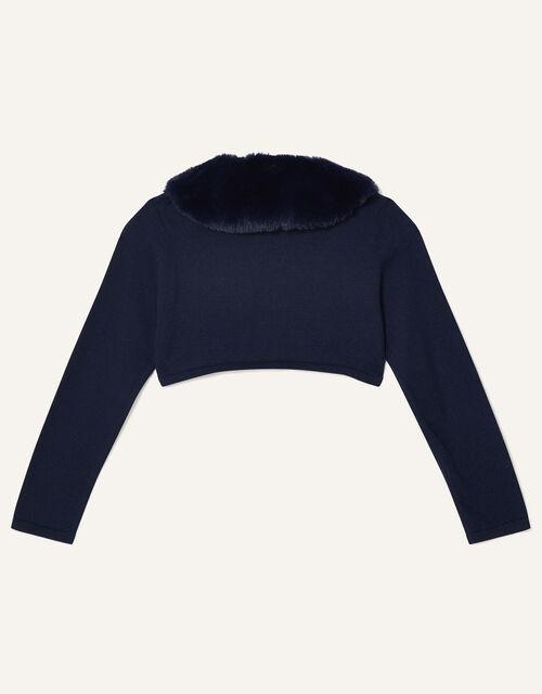 Super-Soft Faux Fur Collar Cardigan, Blue (NAVY), large