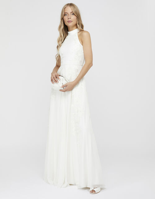 Ethel Bridal Embellished Lace Maxi Dress, Ivory (IVORY), large