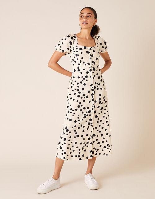 Spot Poplin Midi Dress, Ivory (IVORY), large