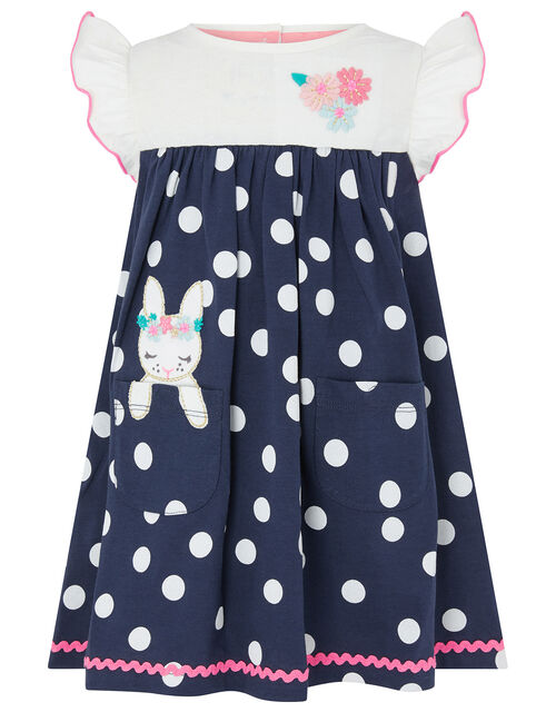 Baby Blue Spot Bunny Dress in Organic Cotton, Blue (BLUE), large