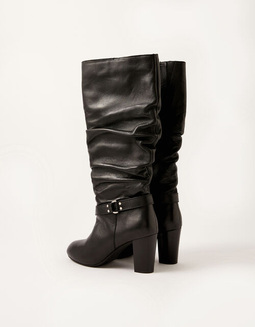 Belle Buckle Slouch Leather Boots, Black (BLACK), large